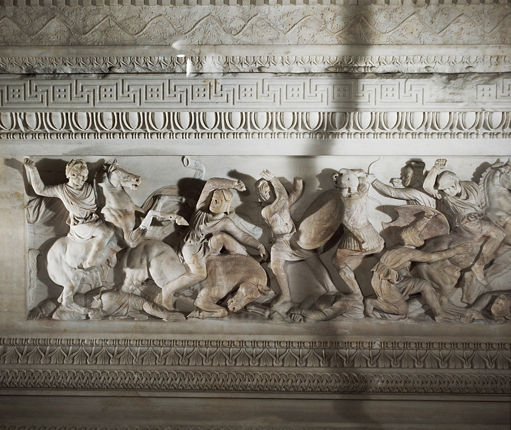 Detail of the sarcophagus of Alexander the Great, Istanbul Museum, Turkey, Europe, Eurasia