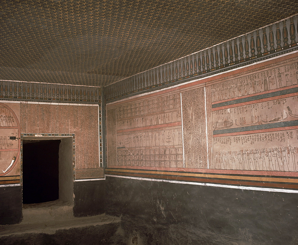 Star ceiling in the interior of the tomb of the pharaoh Amenophis II, Valley of the Kings, Thebes, UNESCO World Heritage Site, Egypt, North Africa, Africa