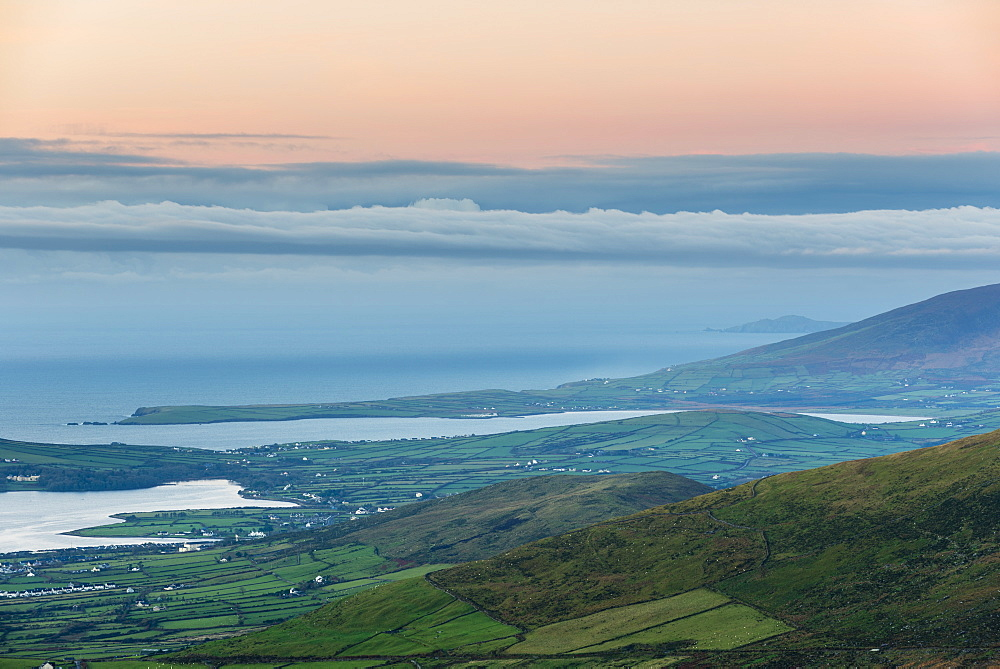 Dingle Bay at dawn from Conor Pass, Dingle Peninsula, County Kerry, Munster, Republic of Ireland, Europe - 1200-25