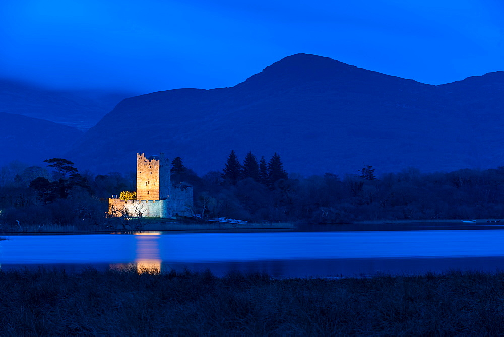Ross Castle at dusk, Killarney National Park, County Kerry, Munster, Republic of Ireland, Europe - 1200-41
