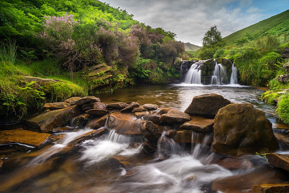 Water cascading over rocks on moorland habitat, Fairbrook, Peak District National Park, Derbyshire, England, United Kingdom, Europe