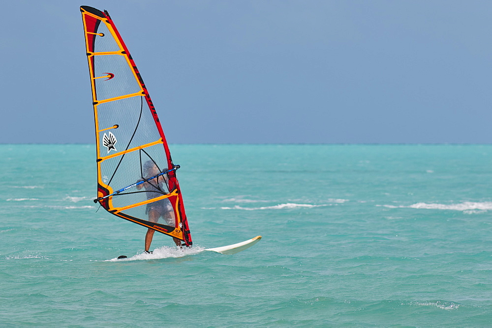 Windsurfing at Long Bay Beach, on the south coast of Providenciales, Turks and Caicos, in the Caribbean, West Indies, Central America