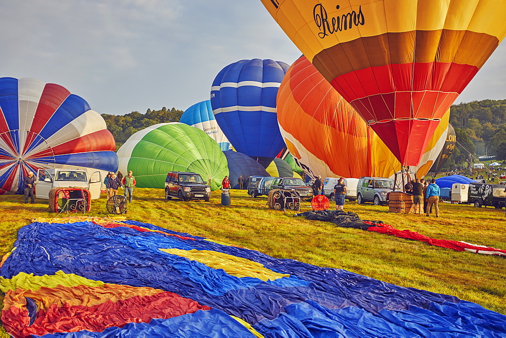 Hot-air balloons preparing to take off from the festival site during the annual Bristol International Balloon Fiesta, Bristol, England, United Kingdom, Europe - 1202-179