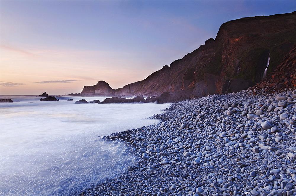The Blegberry shore at dusk, near Hartland Quay, Devon, England, United Kingdom, Europe