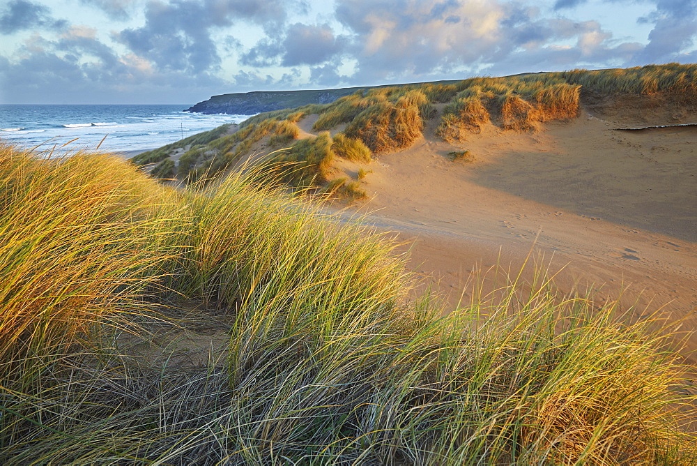 Sand dunes at Holywell, near Newquay, Cornwall, England, United Kingdom, Europe
