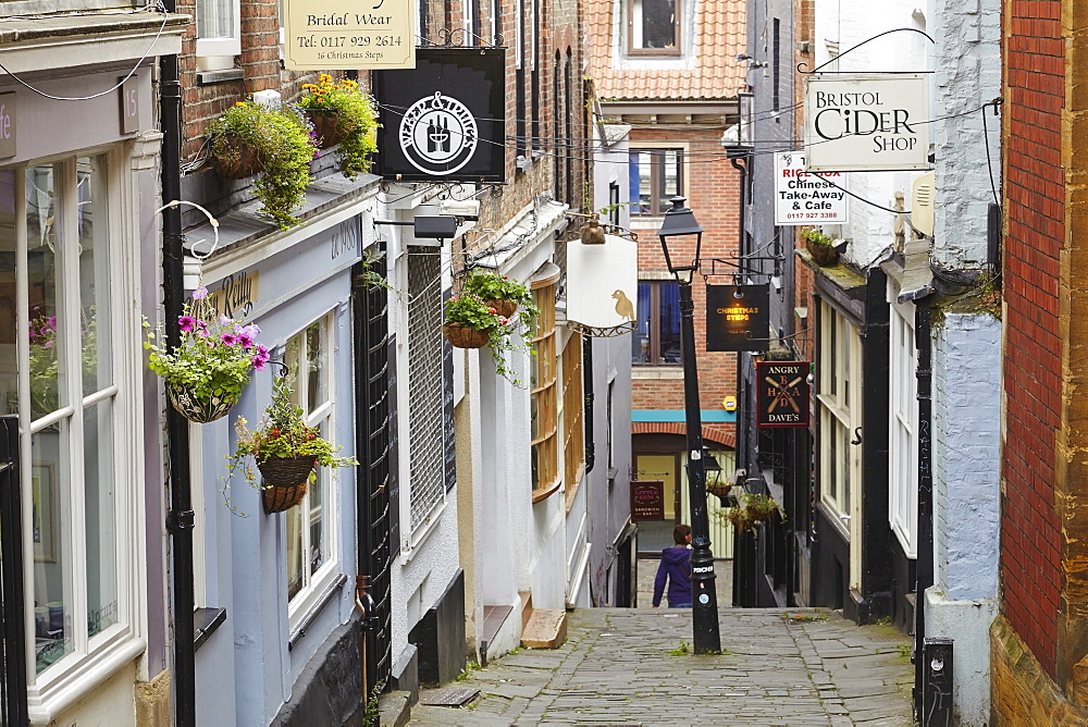 Medieval buildings on Christmas Steps, Bristol, England, United Kingdom, Europe