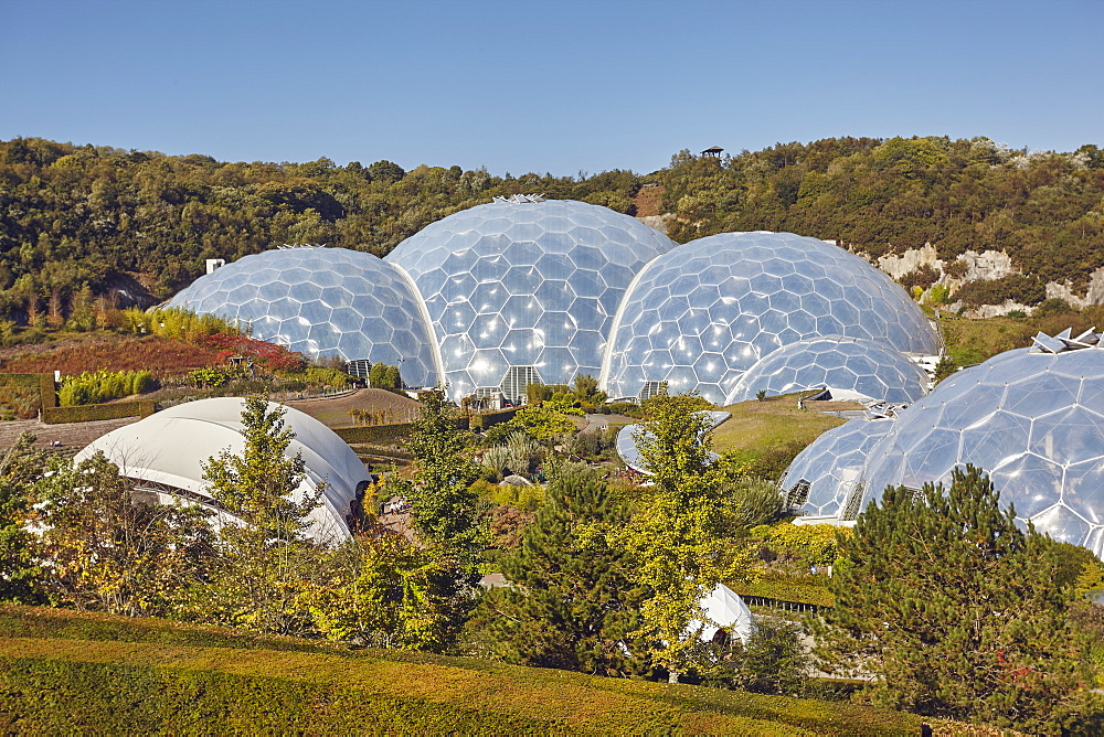 A view of the dome that makes up the Tropical Biome, at the Eden Project, near St. Austell, south Cornwall, England, United Kingdom, Europe