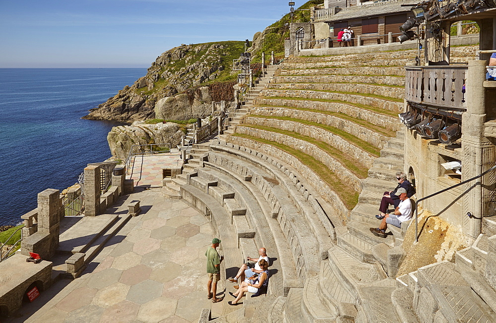 One of the UK's most famous theatres, the cliffside, open-air Minack Theatre, at Porthcurno, near Penzance, in west Cornwall, England, United Kingdom, Europe
