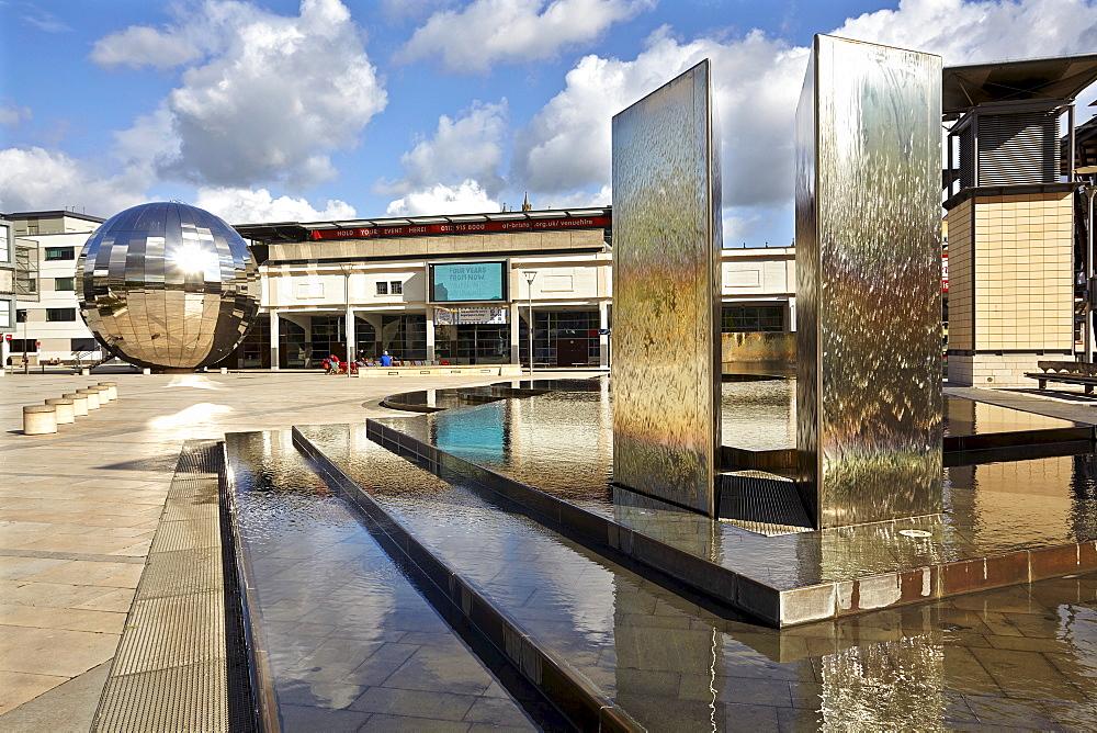 The steel ball outside @Bristol, in the Docks, Bristol, England, United Kingdom, Europe - 1202-5
