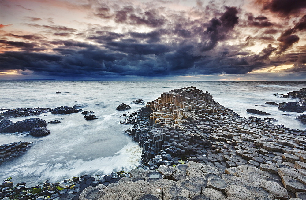An evening view of the Giant's Causeway, UNESCO World Heritage Site, County Antrim, Ulster, Northern Ireland, United Kingdom, Europe - 1202-64