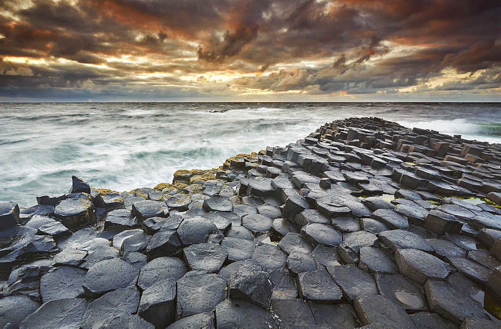 An evening view of the Giant's Causeway, UNESCO World Heritage Site, County Antrim, Ulster, Northern Ireland, United Kingdom, Europe