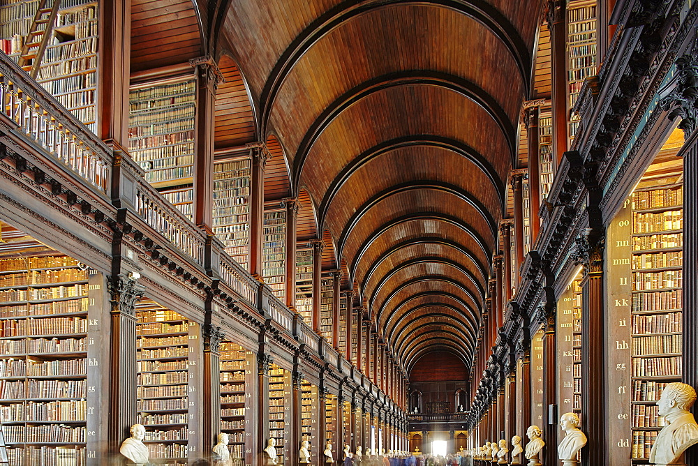The Long Room in the library of Trinity College, Dublin, Republic of Ireland, Europe