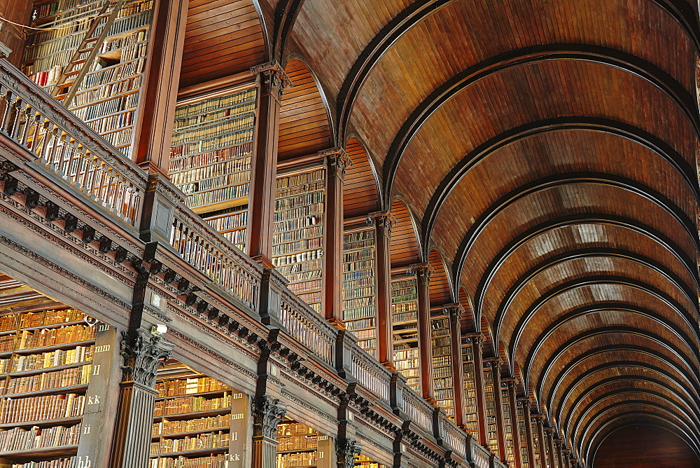 The Long Room in the library of Trinity College, Dublin, Republic of Ireland, Europe - 1202-76
