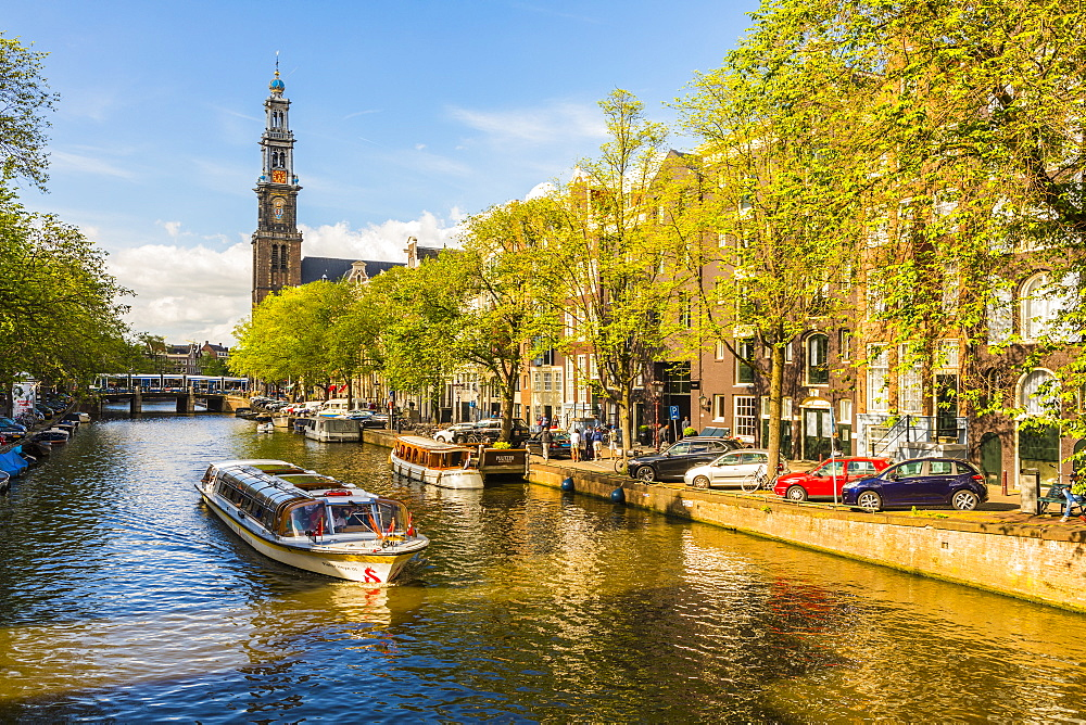 Boat on Prinsengracht canal, with Westerkerk in the background, Amsterdam, Netherlands - 1207-108