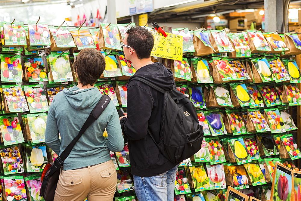 People browsing in Bloemenmarkt, Amsterdam, Netherlands - 1207-135