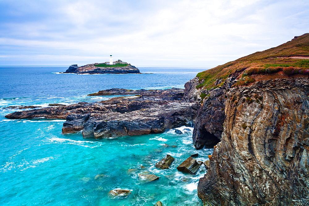 Godrevy Lighthouse, Cornwall, England, United Kingdom, Europe - 1207-15