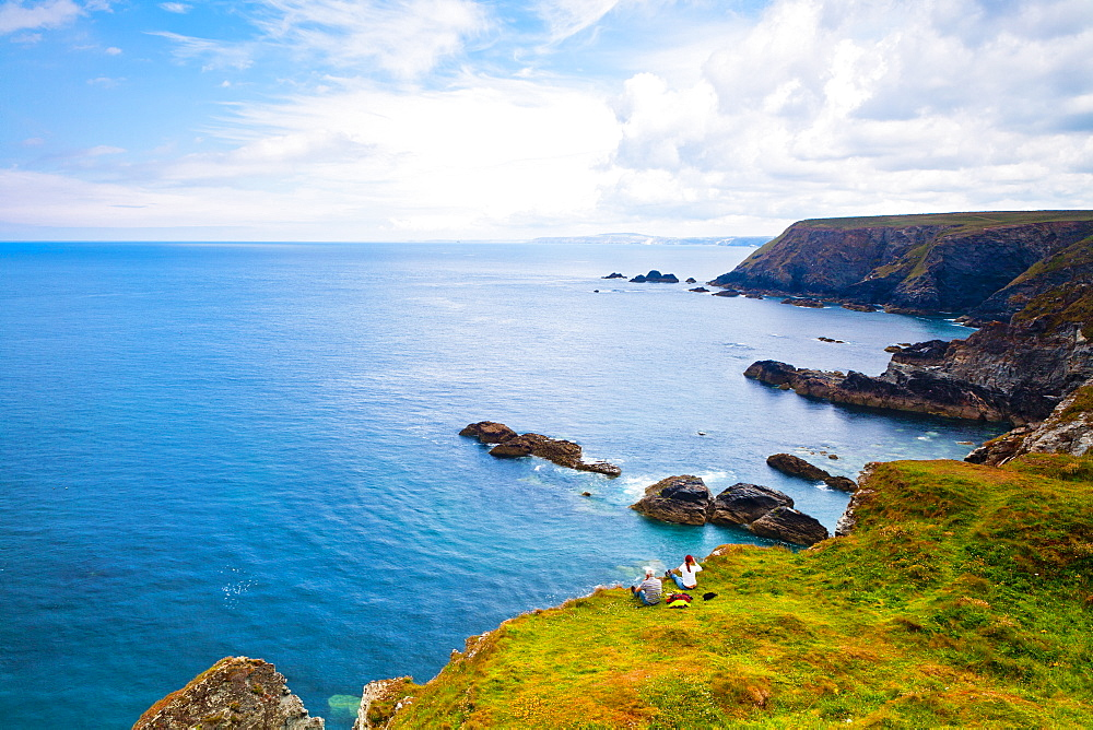 Couple on cliff top, Godrevy, Cornwall, England, United Kingdom, Europe - 1207-17