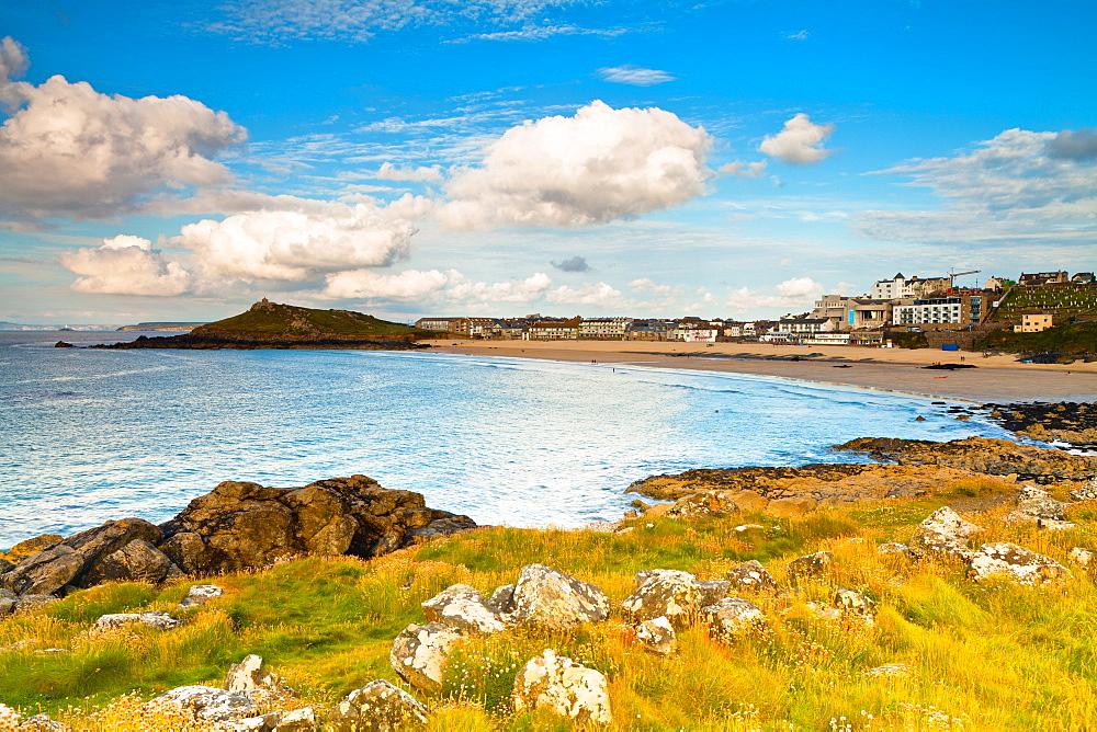 Porthmeor Beach, The Island, St. Ives, Cornwall, England, United Kingdom, Europe - 1207-19