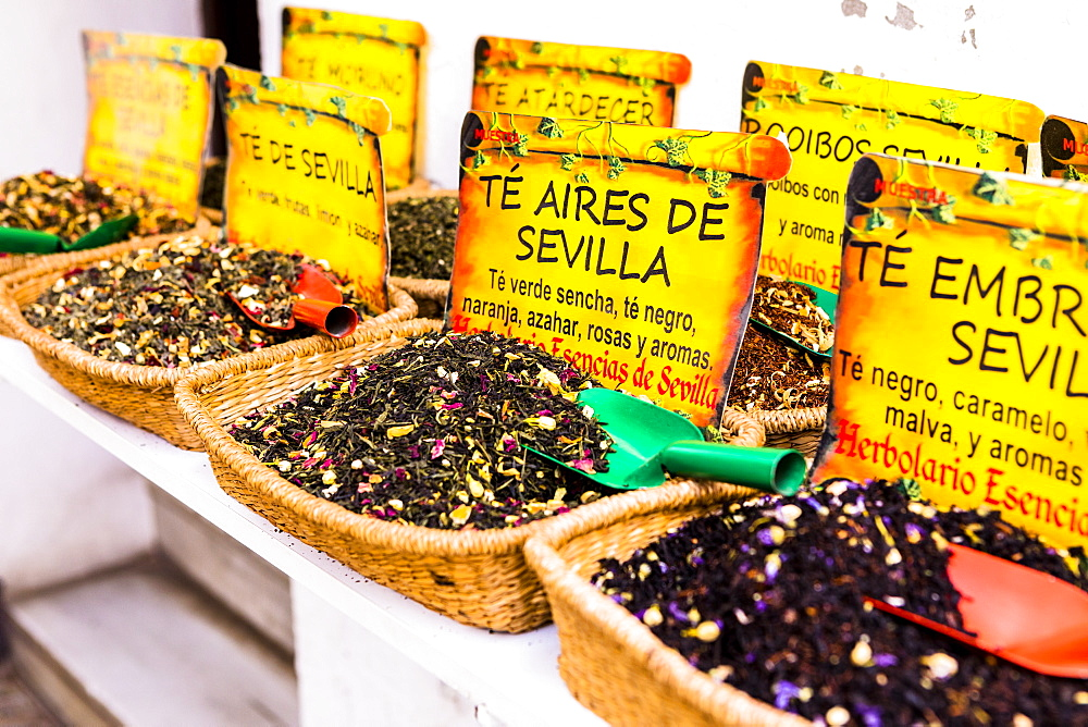 Spices for sale in Santa Cruz district, Seville, Andalusia (Andalucia), Spain, Europe - 1207-216