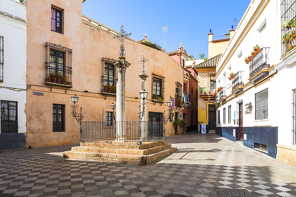 Plaza De Las Cruces, in Santa Cruz district, Seville, Andalusia (Andalucia), Spain, Europe