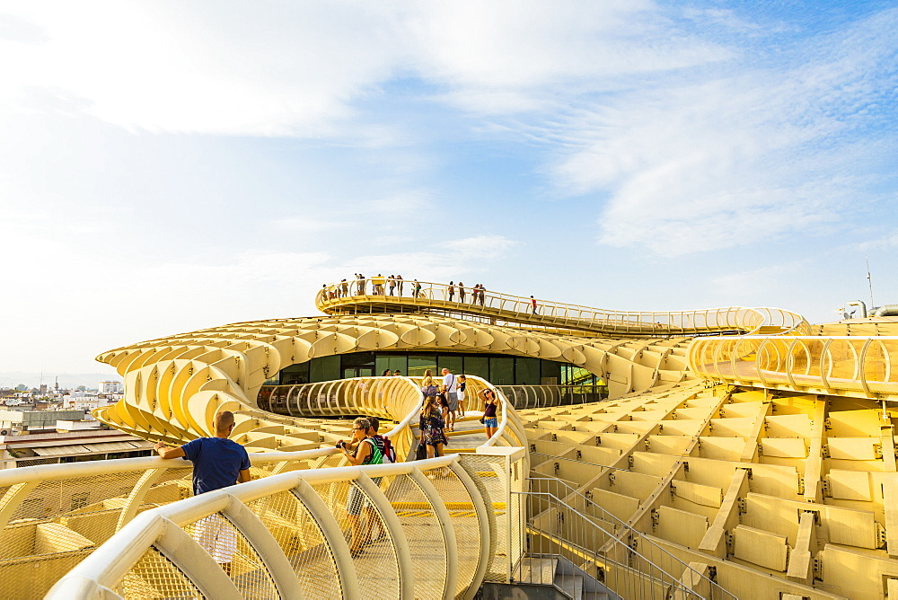 People looking at the view of city from the top of Metropol Parasol, Seville, Andalucia, Spain, Europe - 1207-241