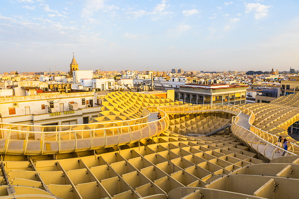 The view of the city from the top of Metropol Parasol, Seville, Andalucia, Spain, Europe