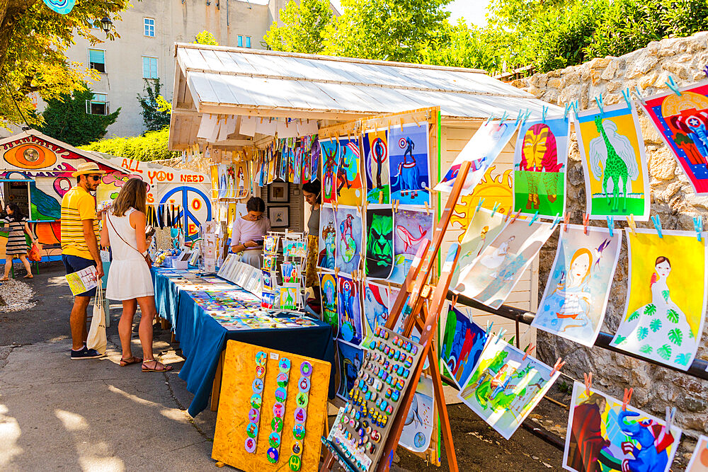 Art for sale at a stall in Zagreb, Croatia, Europe - 1207-256