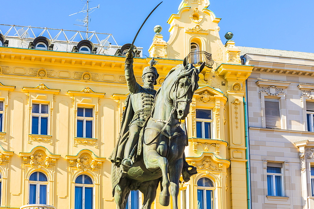 Ban Jelacic monument on Ban Jelacic Square, Zagreb, Croatia, Europe - 1207-261