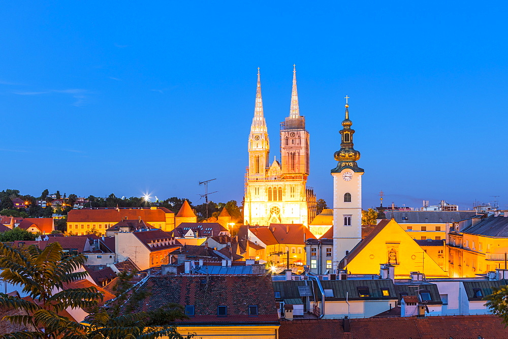 View of Cathedral of the Assumption Blessed Virgin Mary at night, Zagreb, Croatia, Zagreb, Croatia, Europe - 1207-271
