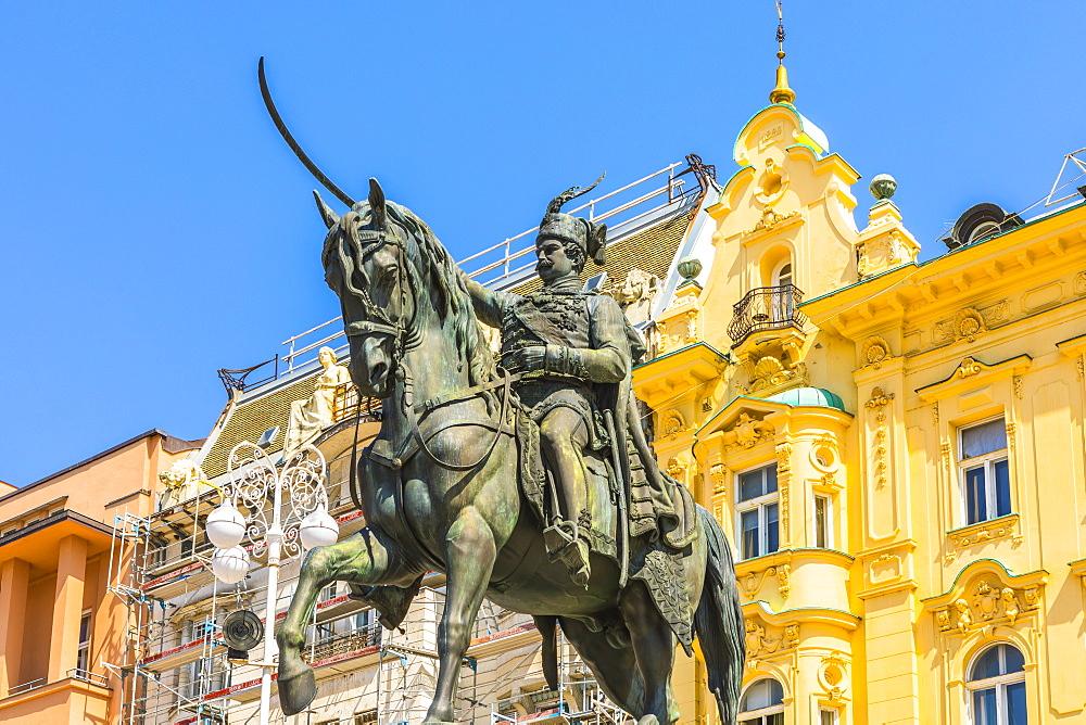 Ban Jelacic monument on Ban Jelacic Square, Zagreb, Croatia, Europe - 1207-284