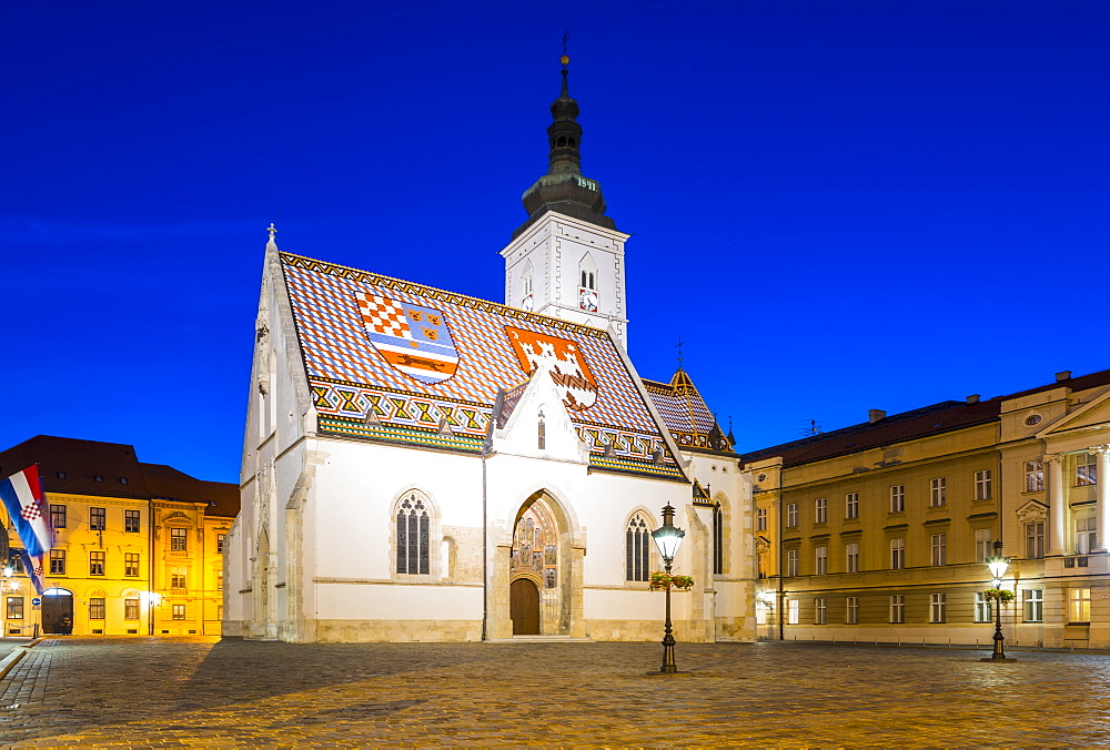 St. Mark's church on Market Square at night, Government Quarter, Upper Town, Zagreb, Croatia, Europe