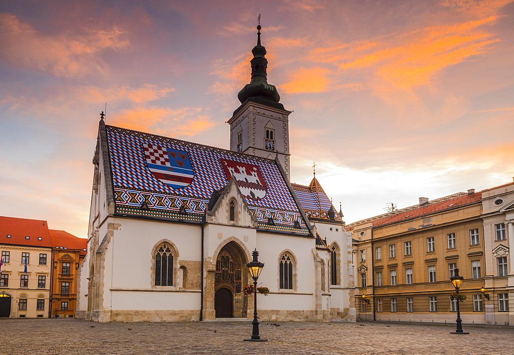 St. Mark's church on Market Square at dawn, Government Quarter, Upper Town, Zagreb, Croatia, Europe