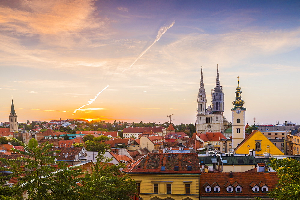 View of the Cathedral of the Assumption Blessed Virgin Mary at dawn, Zagreb, Croatia, Europe