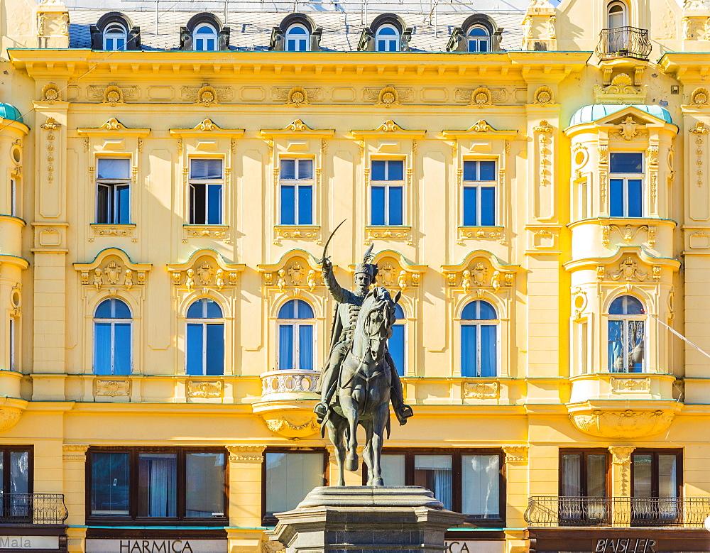 Ban Jelacic monument on Ban Jelacic Square, Zagreb, Croatia, Europe - 1207-310