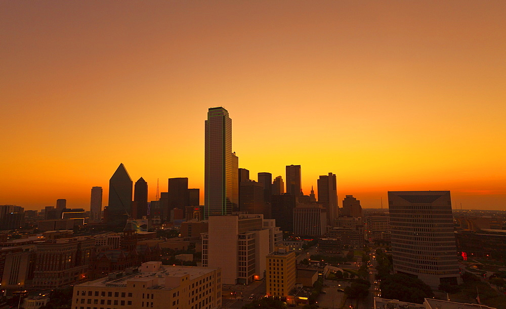 View of Dallas skyline, early morning