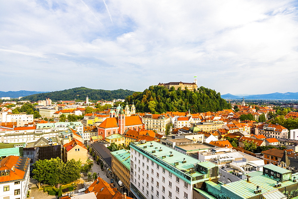 View of Ljubljana old town and Castle, Ljubljana, Slovenia, Europe