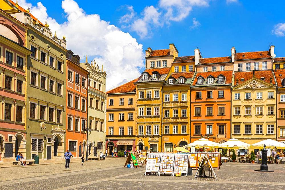 Old Town Market Square, UNESCO world heritage site, Old Town, Warsaw, Poland, Europe