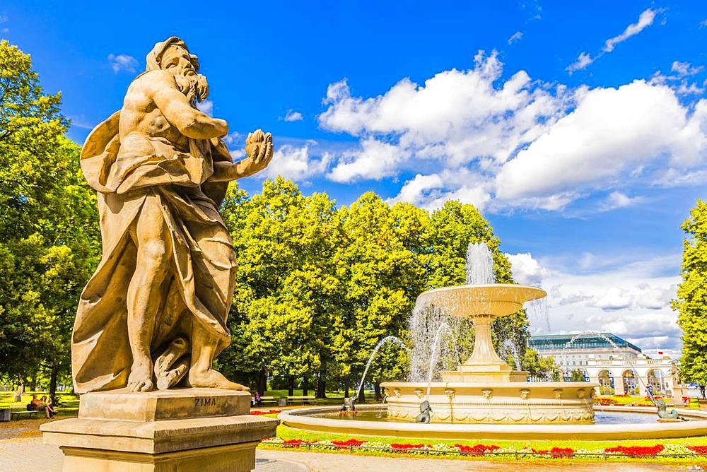 Statue in Saxon Garden, Warsaw, Poland, Europe