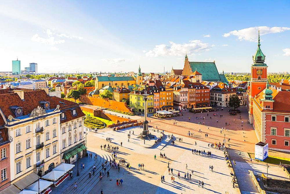 Elevated view of Sigismund's Column and Royal Castle in Plac Zamkowy (Castle Square), Old Town, UNESCO World Heritage Site, Warsaw, Poland, Europe - 1207-366
