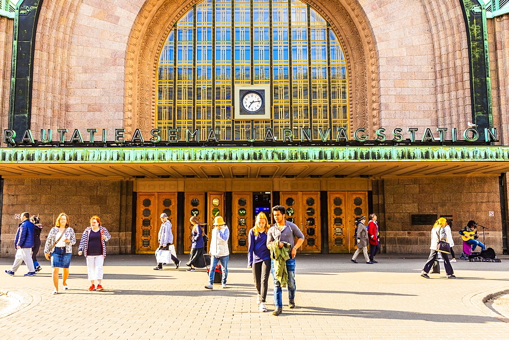 Entrance to Helsinki Train Station in Helsinki, Uusimaa, Finland, Europe