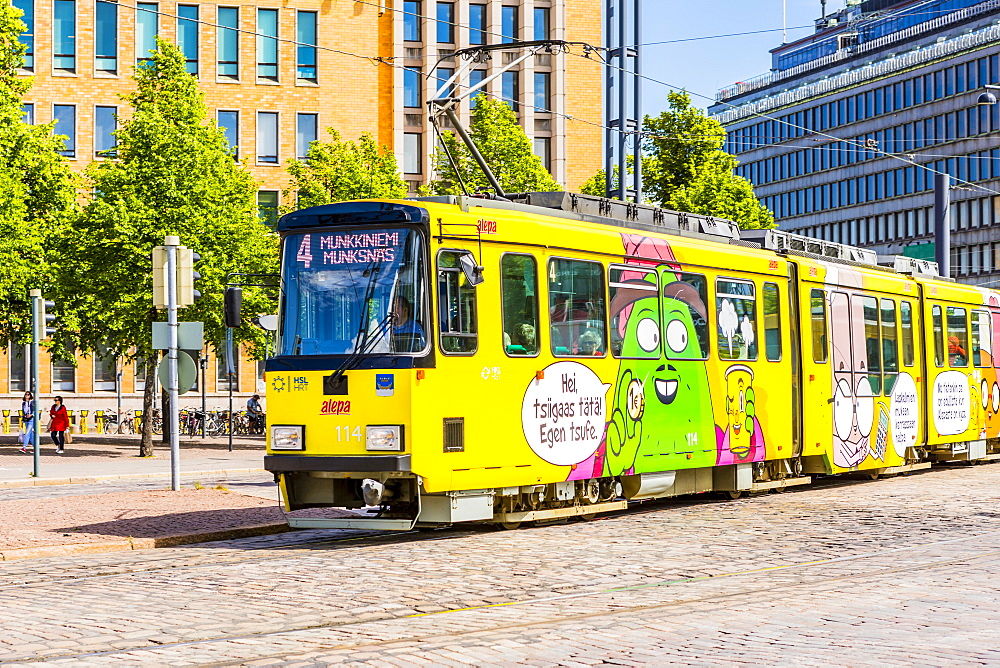 Colorful tram in Helsinki, Finland, Europe