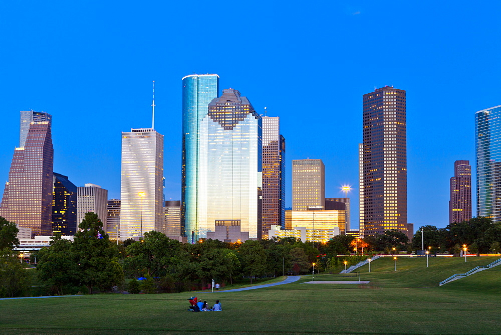 Houston skyline at night from Eleanor Tinsley Park, Texas, United States of America, North America - 1207-60