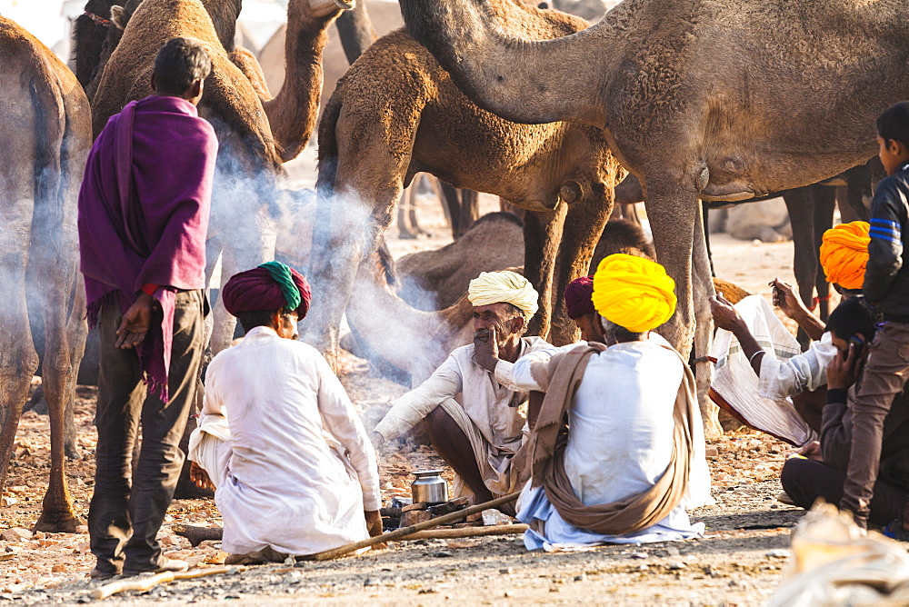 Camel herders at the Pushkar Camel fair, Pushkar, Rajasthan, India, Asia,