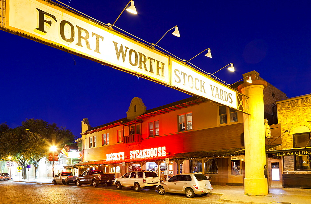 Fort Worth Stockyards at night, Texas, United States of America, North America - 1207-86