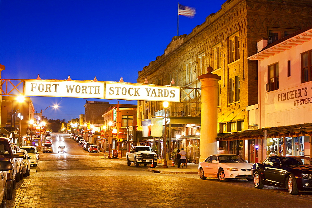 Fort Worth Stockyards at night, Texas, United States of America, North America