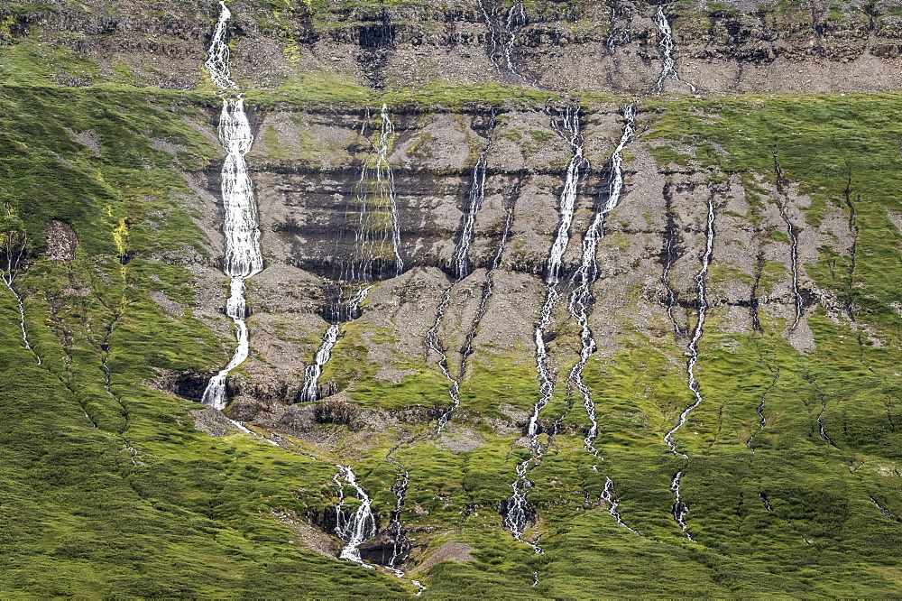 Waterfall, Drangajokull Glacier, Westfjords, Iceland, Polar Regions