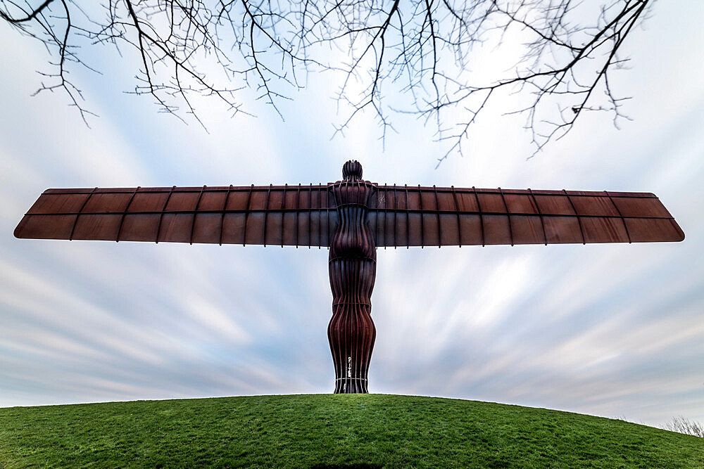 Antony Gormley's Angel of the North at sunset, Gateshead, Tyne and Wear, England, United Kingdom, Europe - 1209-177