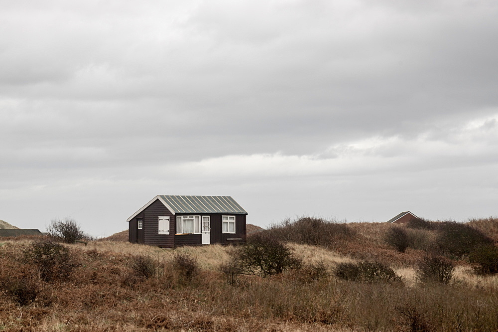Beach huts, Embleton Bay, Northumberland, England, United Kingdom, Europe - 1209-20