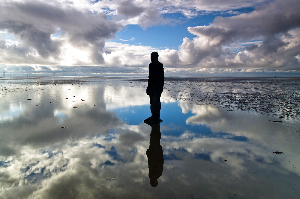 Statue by Antony Gormley, part of Another Place, Crosby Beach, Merseyside, England, United Kingdom, Europe - 1209-21