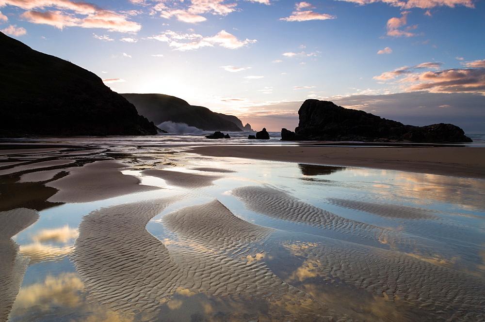 Sunset, Kearvaig Bay, Cape Wrath, Durness, Scotland, United Kingdom, Europe - 1209-26